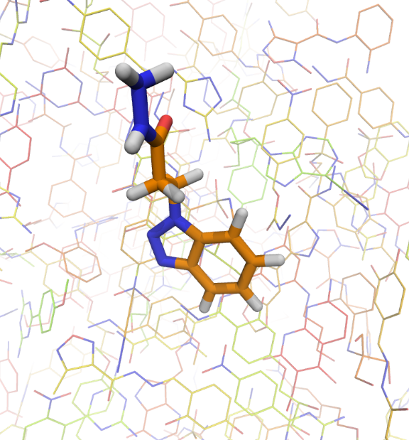 group-of-molecules-and-one-orange-molecule-in-the-front